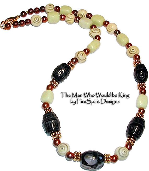 The Man Who Would Be King-  ooak, man's, gemstone beaded necklace by FireSpirit Designs on Etsy, $65.00