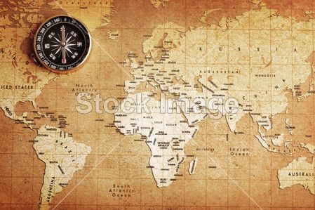 An Old Brass Compass On A Treasure Map Background Wanderlust - Old us map background