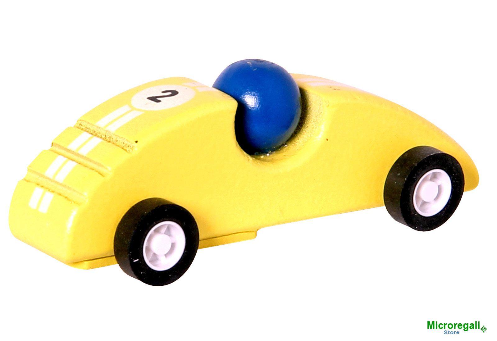 Macchinina in Legno da Corsa F1 GIALLA cm 10x3,5x3,5. Per Bambini. c ...