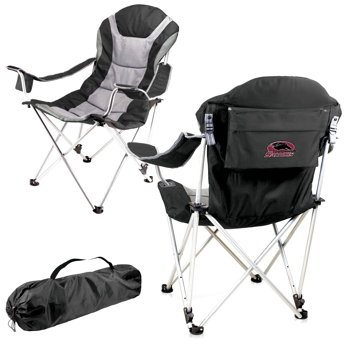 Southern Illinois Salukis Reclining Camp Chair - Black - $85.49
