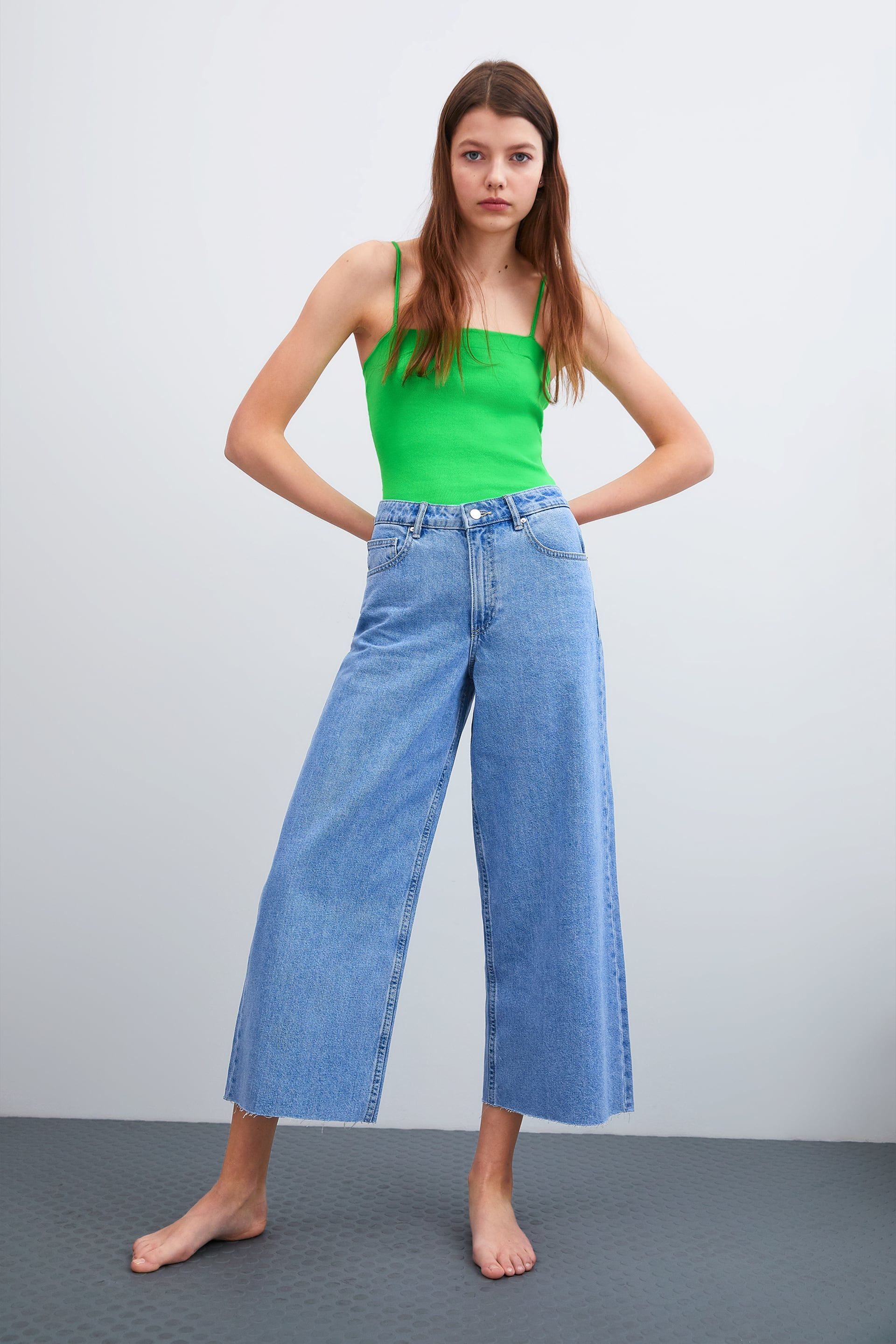 a14a0a03 Image 1 of MID-RISE CULOTTE JEANS from Zara | Minimalism in 2019 ...