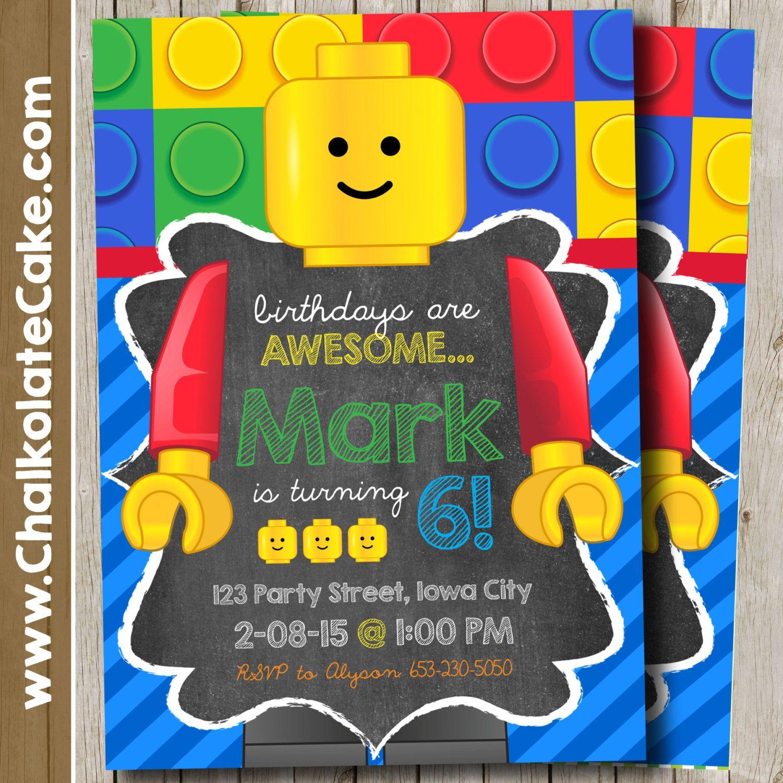 LEGO Invitation - Lego Birthday Party Invitation Chalkboard ...