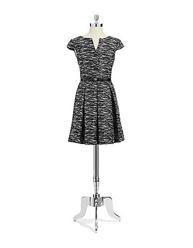 Women S Apparel Dresses Petite Tweed Fit And Flare Dress Lord