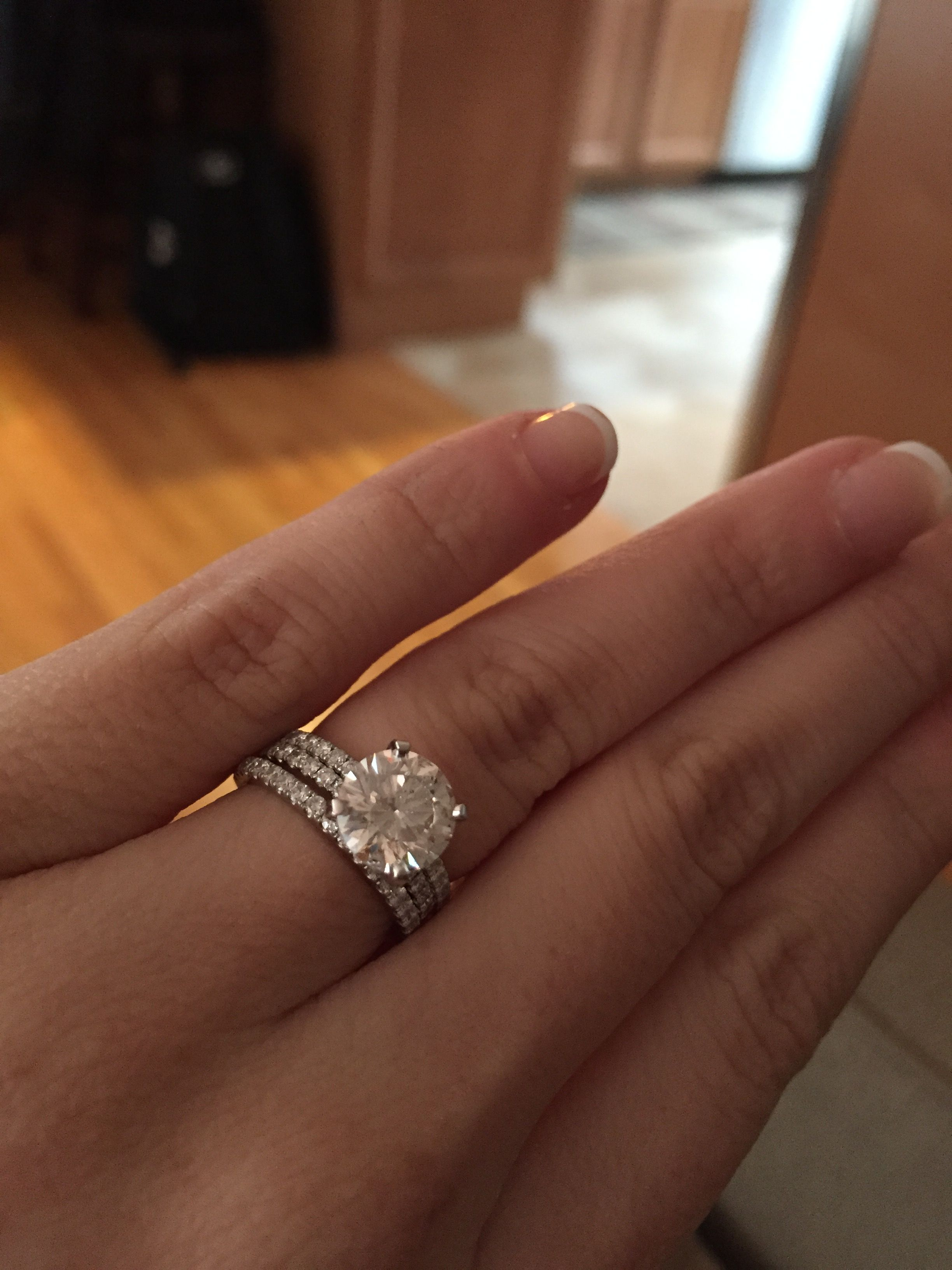 I Am A Size 4 With A 2 Ct Ring And I Love It Not Too Big At All At Least For Me Doesn T Catch On Anyth Eternity Wedding Band