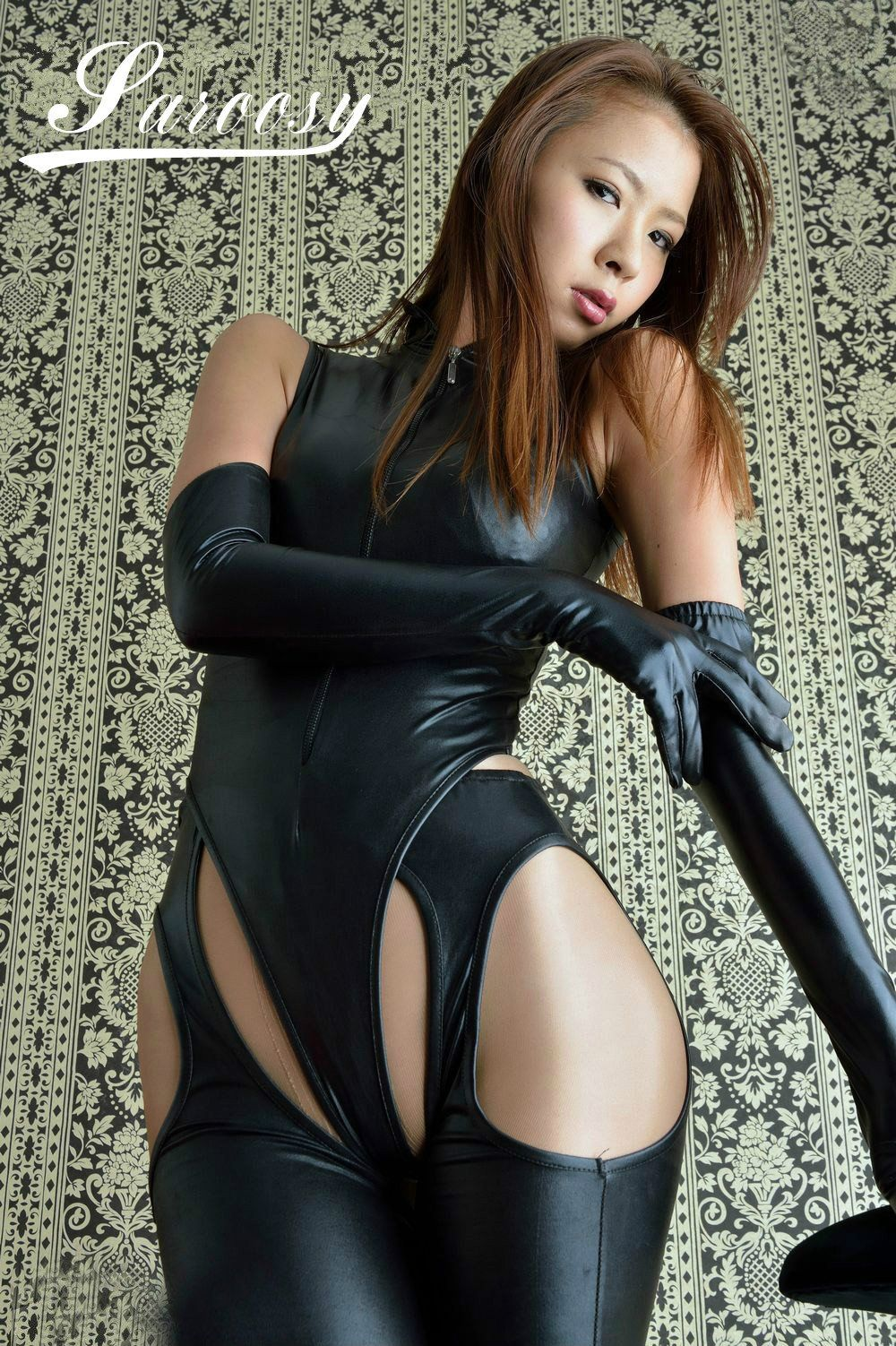 Holly Halston Latex for sexy lingerie for women hot black leather bodysuit with pants and