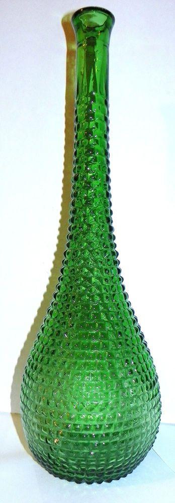"Hobnail Green Bud vase, 16"" tall. No chips or cracks."
