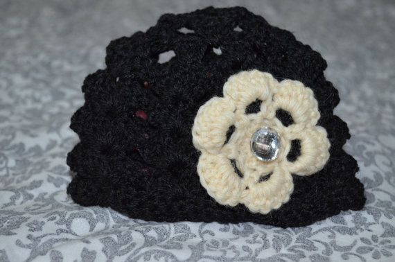 Black Crochet baby beenie with cream flower and by ESCreations14, $18.00