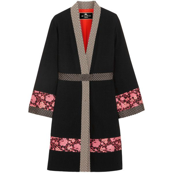 Etro Jacquard-trimmed wool-crepe jacket (5.640 BRL) ❤ liked on Polyvore featuring outerwear, jackets, black, multi color jacket, floral print kimono, slim fit jacket, etro jacket and floral print jacket