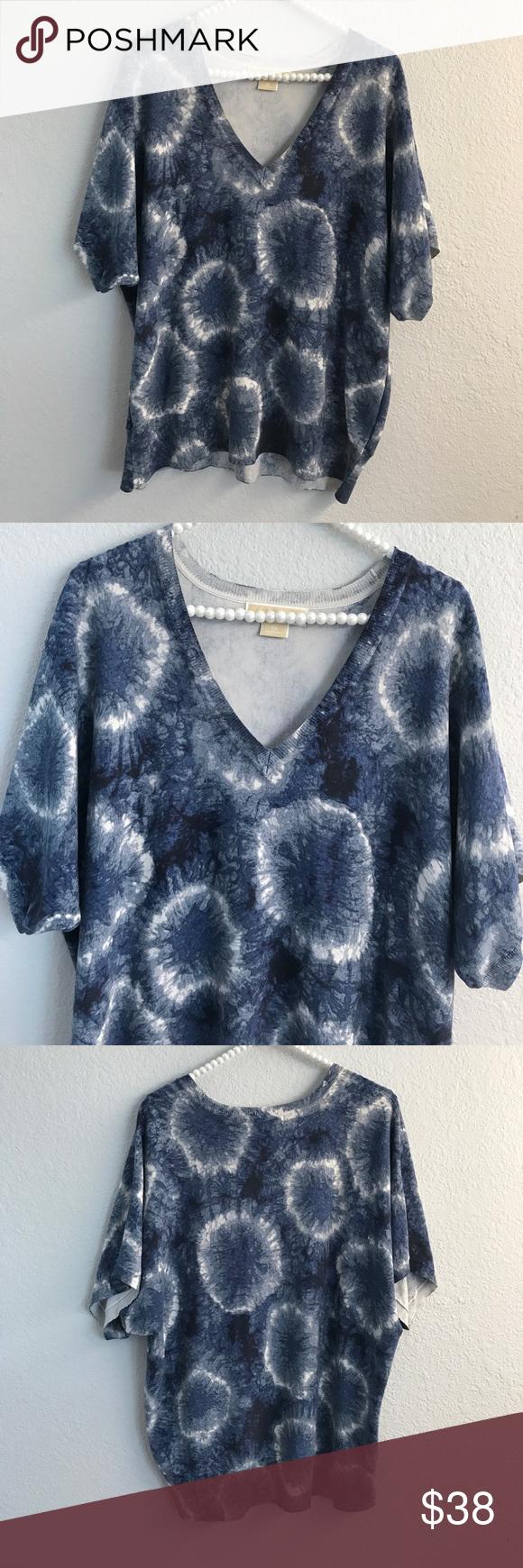 Michael Kors v neck short light sleeve sweater | Color blue ...