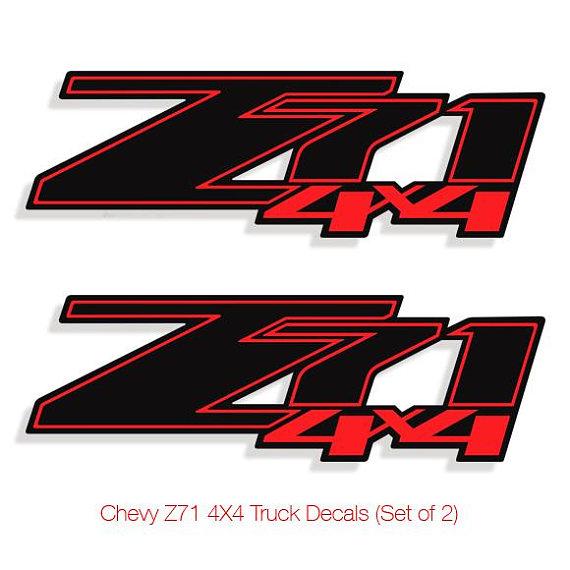 Z71 Chevy Truck 4x4 Off Road Silverado 1500 Sticker Vinyl Decal  2 set BLACK