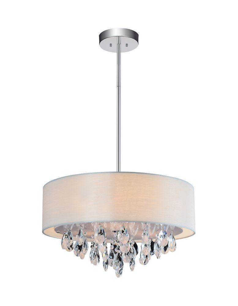 3 Light Mini Pendant With Off White Shade