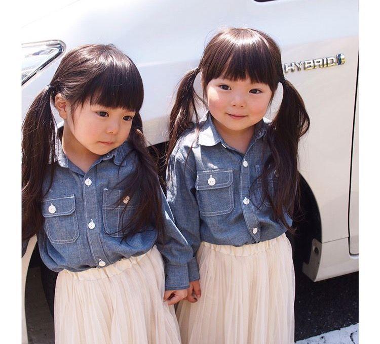 twin cute Asian baby