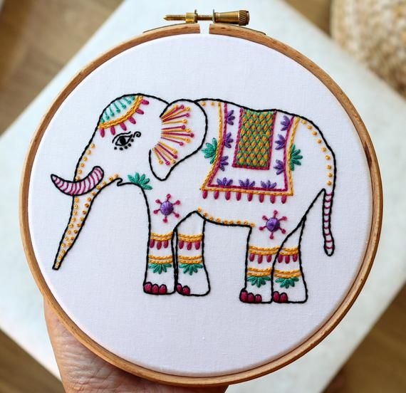 DIY Craft Cute Elephant Flower embroidery,Hoop Art,Hand Embroidery Art,Modern Embroidery Kit,Embroidery Pattern,Wall Decor,Home Decor,gifts