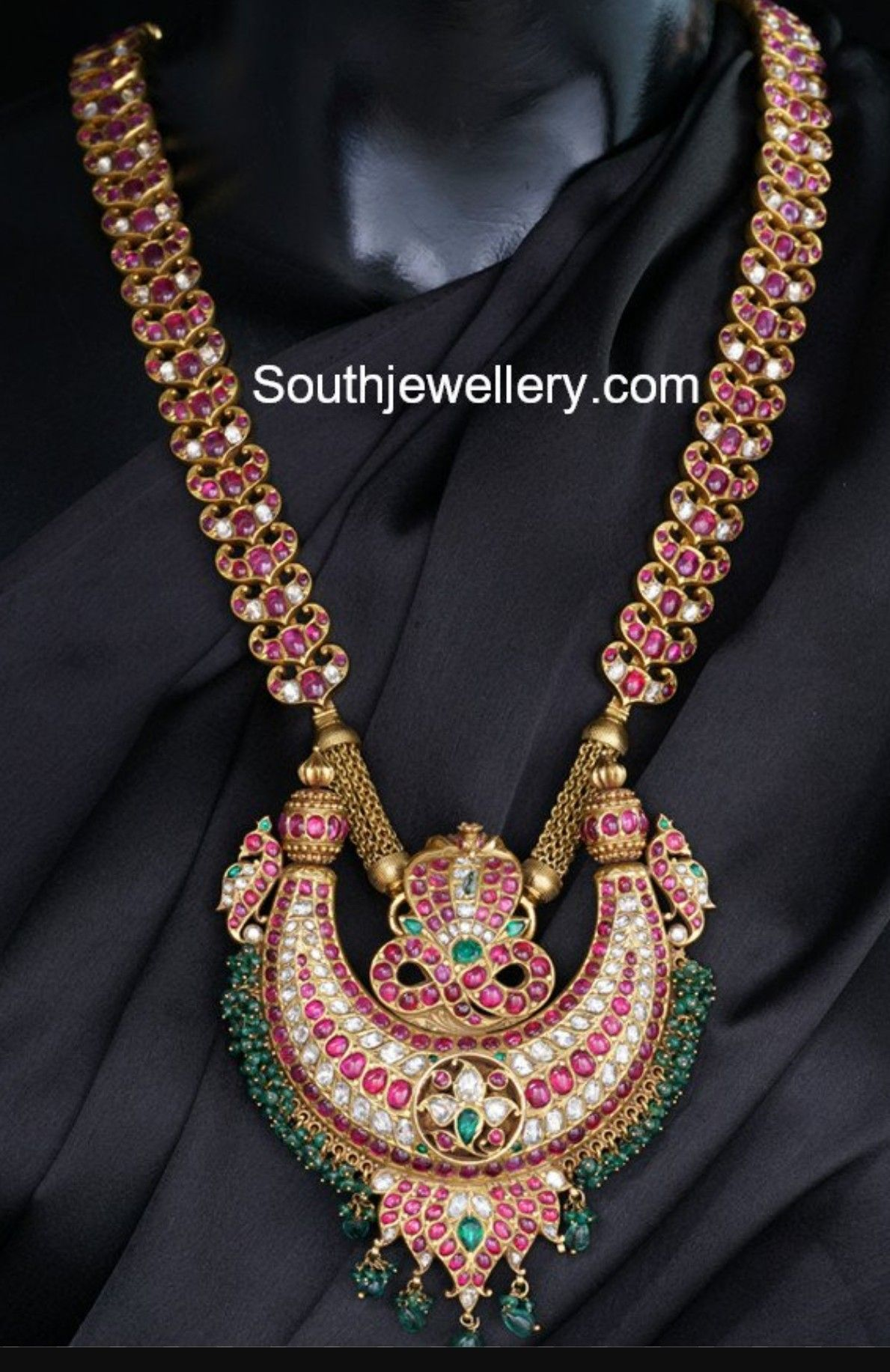 6196c918b123b Antique heavy necklace with potatoes rubies diamonds and emarald ...