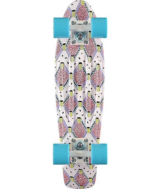 Get great traction and control with a small kicktail and pink molded waffle pattern top on a plastic injection molded deck with a unique graphic print.