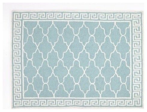 100% wool. Moroccan and Greek pattern. This would look pretty anywhere.