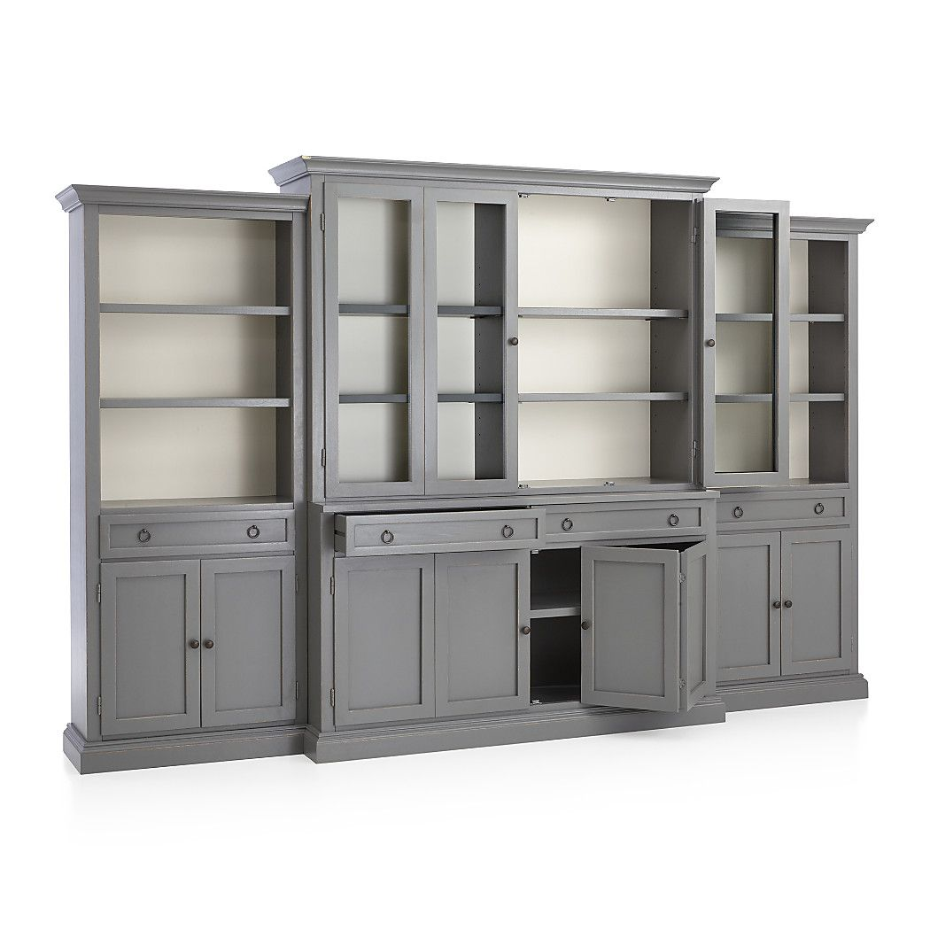 Shop cameo 4 piece modular grey glass door wall unit media console hutch with glass doors modular left and right storage bookcases