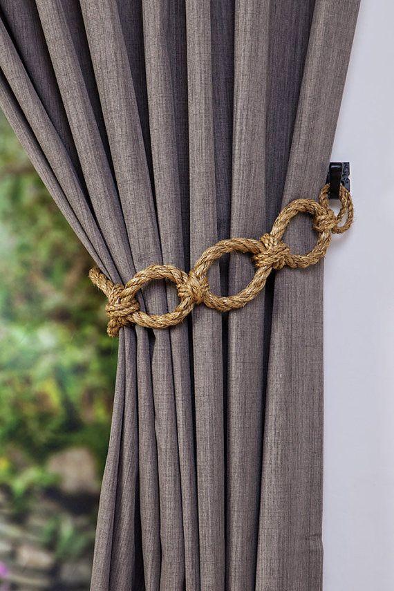 Manila rope chain chunky curtain tiebacks nautical shabby chic living room home decor curtain tie