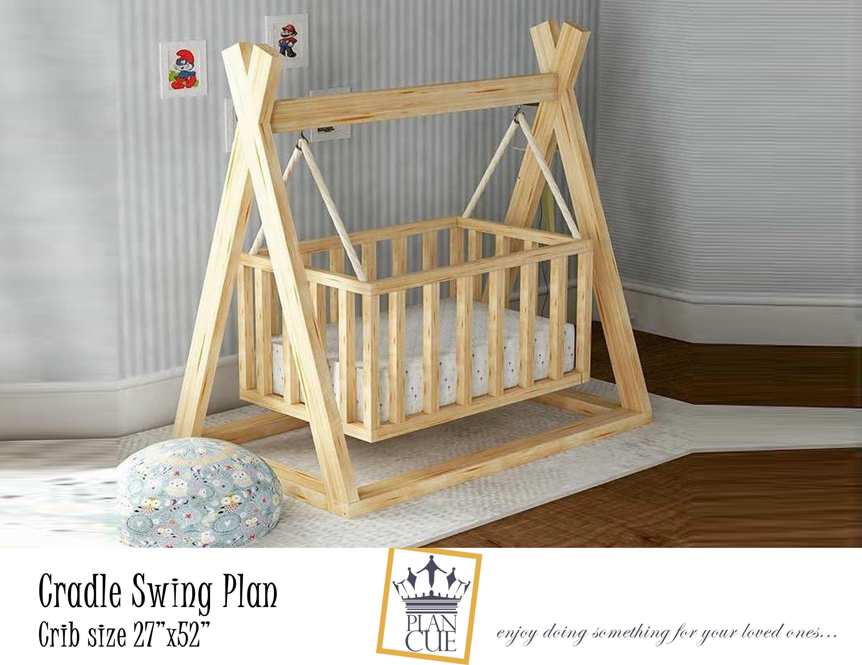 Cradle Swing Plan Wooden Swing For Baby Diy Plan For Outdoor Or Indoor Swing Wooden Cradle Download Pdf Plan M In 2020 Baby Cradle Wooden Diy Crib Diy Toddler Bed