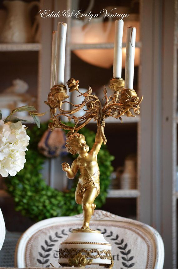 Antique French Cherub Candelabra Brass And By