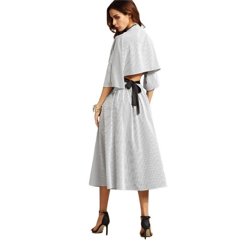 SheIn Womens Grey Striped Contrast Belt Open Back Dresses Ladies V Neck Three Quarter Length Sleeve A Line Long Dress