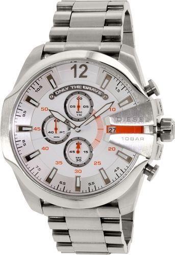 Diesel Men's Mega Chief DZ4328 Silver Stainless-Steel Quartz Watch #Diesel #FashionWatches