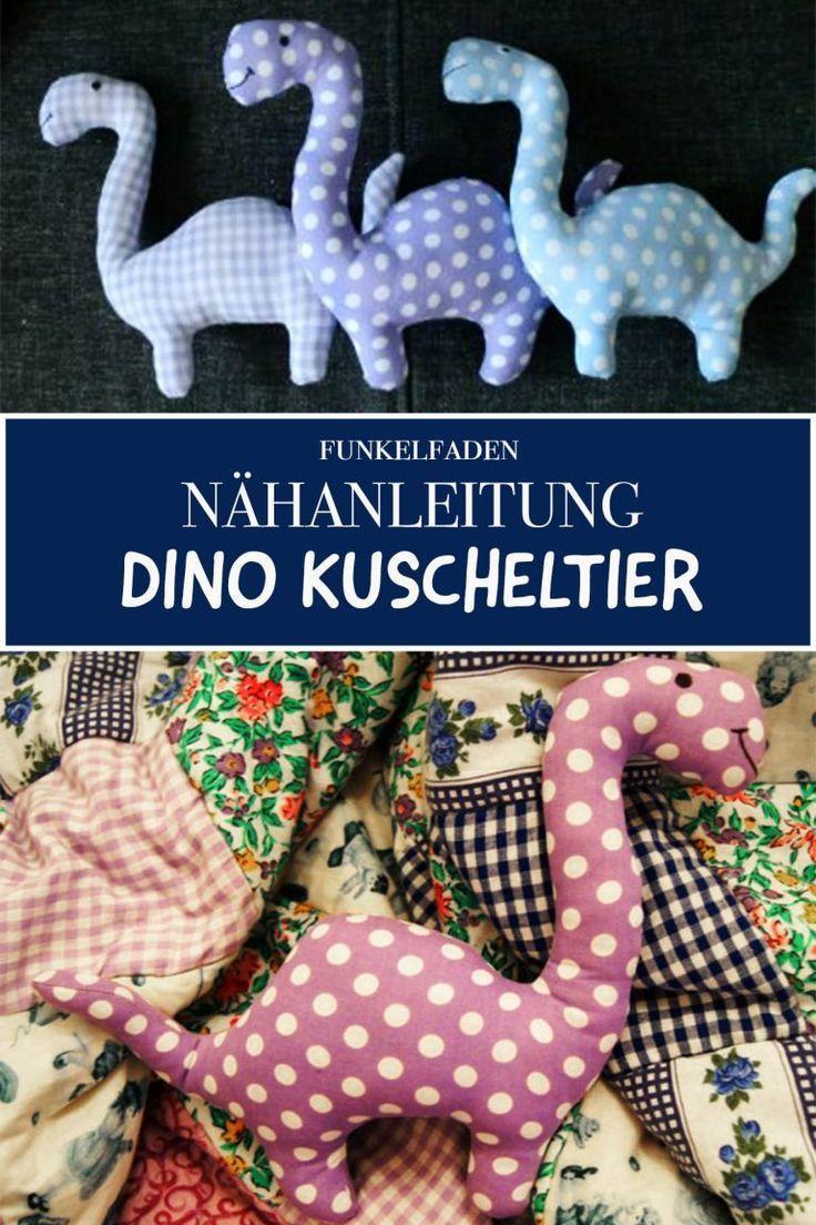 Anleitung und Schnittmuster Dino Kuscheltier / Freebook Einfach nähen