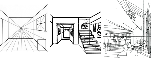 interior design one point perspective drawing - Interior Design Drawings Easy