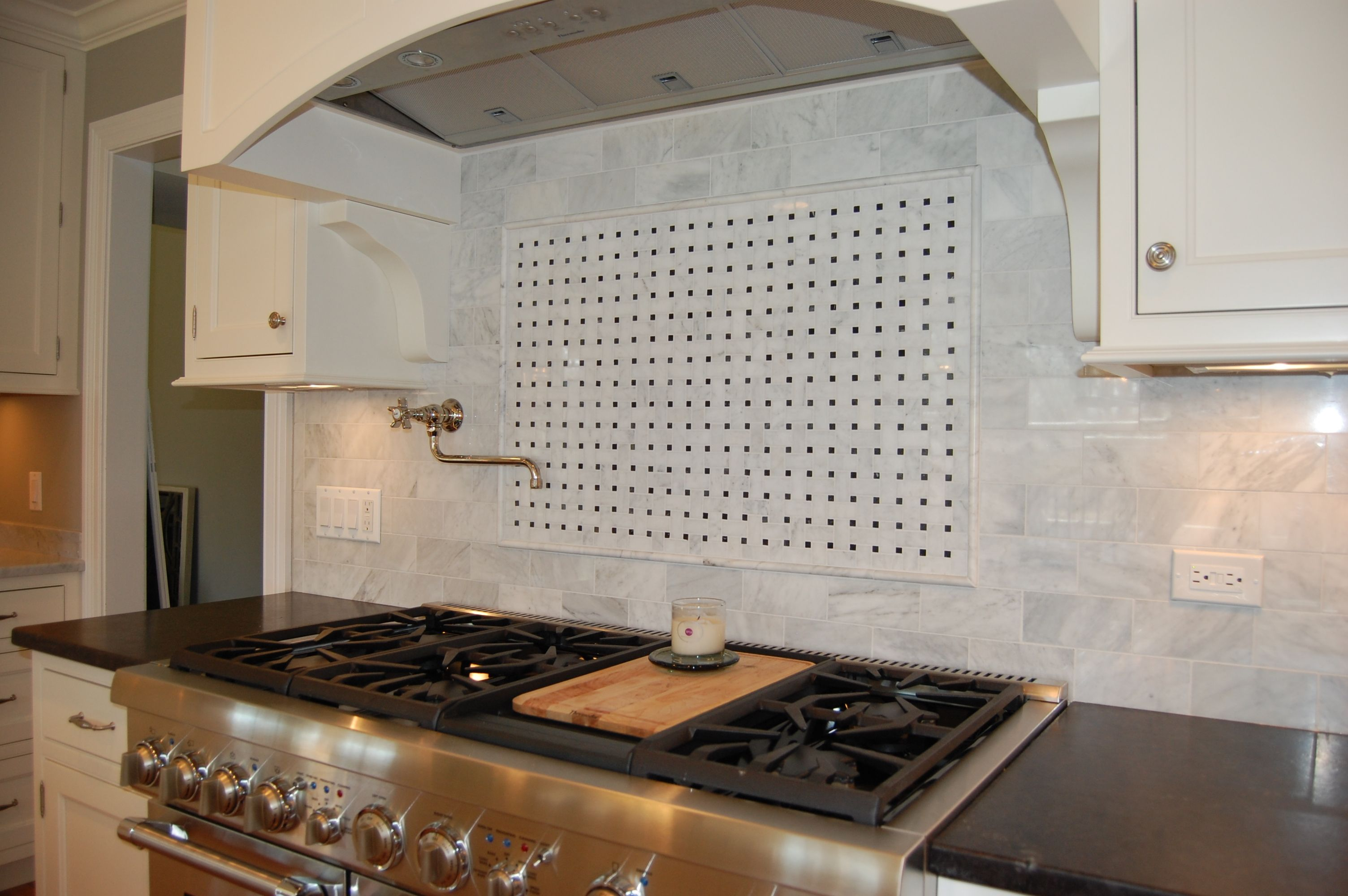 - Carrera Marble Basket Weave Backsplash. Kitchen Stove, Kitchen