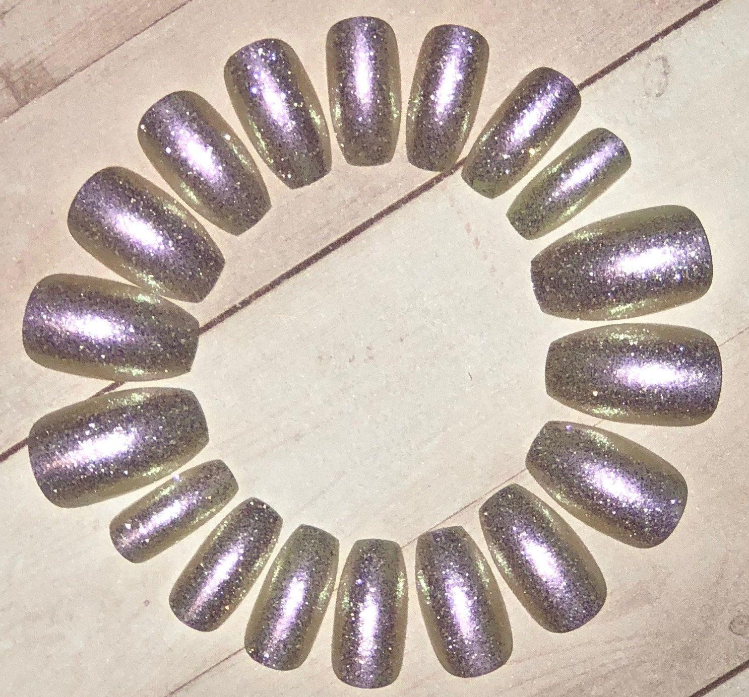 Opal Iridescent Coffin Nails- Fake Nails- False Nails- Press on ...