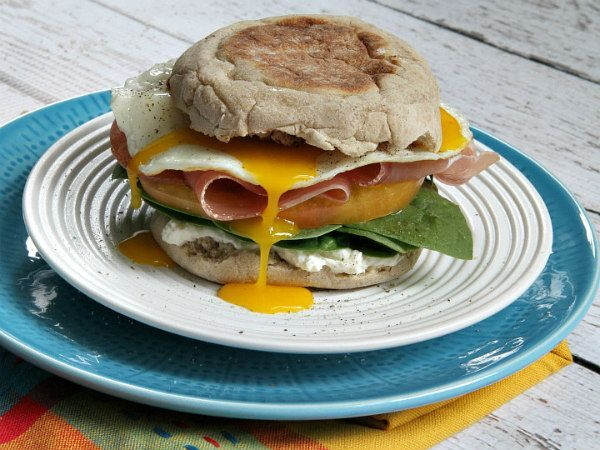 Packed Breakfast Sandwich Sharing a recipe for a Protein Packed Breakfast Sandwich- a high protein English muffin with egg, prosciutto, spinach and cream cheese. So good!Sharing a recipe for a Protein Packed Breakfast Sandwich- a high protein English muffin with egg, prosciutto, spinach and cream cheese. So good!