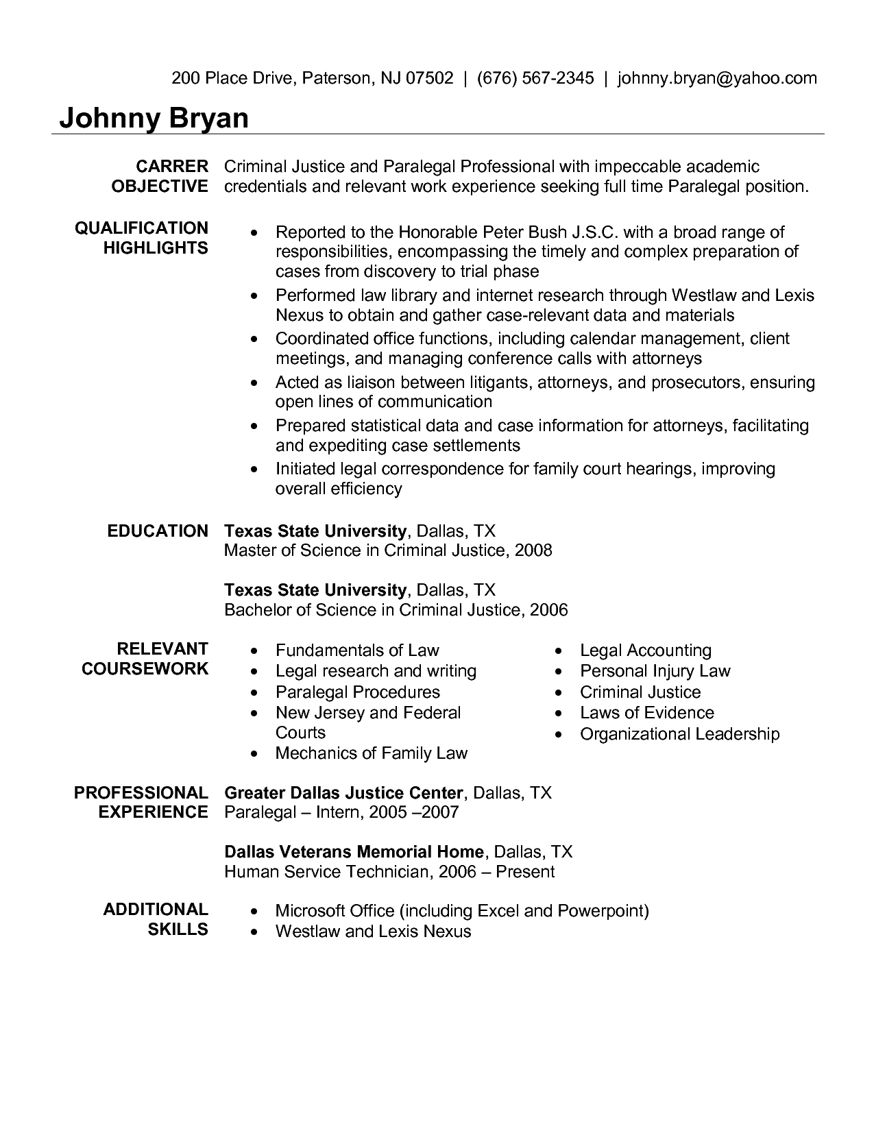 Sample Paralegal Resume Objective Resume Criminal Justice  Httpwwwresumecareer
