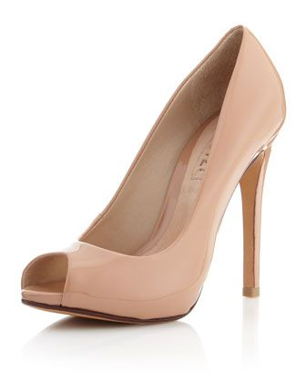 I've been looking for this style! Not too high but high enough.  Perfect!  Patent Leather Open-Toe Pump, Nude by Schutz at Last Call by Neiman Marcus.