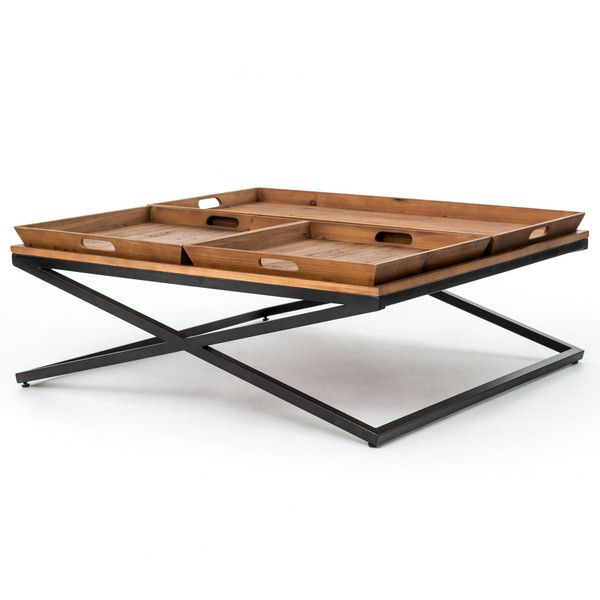 Jaxon Trio Tray Top Wood Iron Industrial Square Coffee Table (75.725 RUB) ❤ liked on Polyvore featuring home, furniture, tables, industrial table, top table, square wooden coffee table, wood iron coffee table and wooden coffee tables