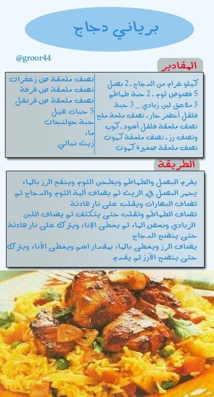 برياني الدجاج Indian Food Recipes Middle East Food Cooking Recipes