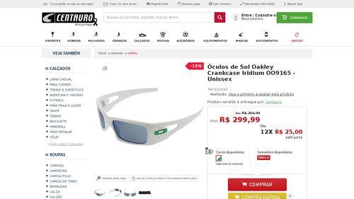8e0a2b067 [Centauro.com.br] Óculos de Sol Oakley Crankcase Iridium OO9165 - Unissex -  BRANCO / VERDE - de R$ 314,06 por R$ 149,99 (52% de desconto)