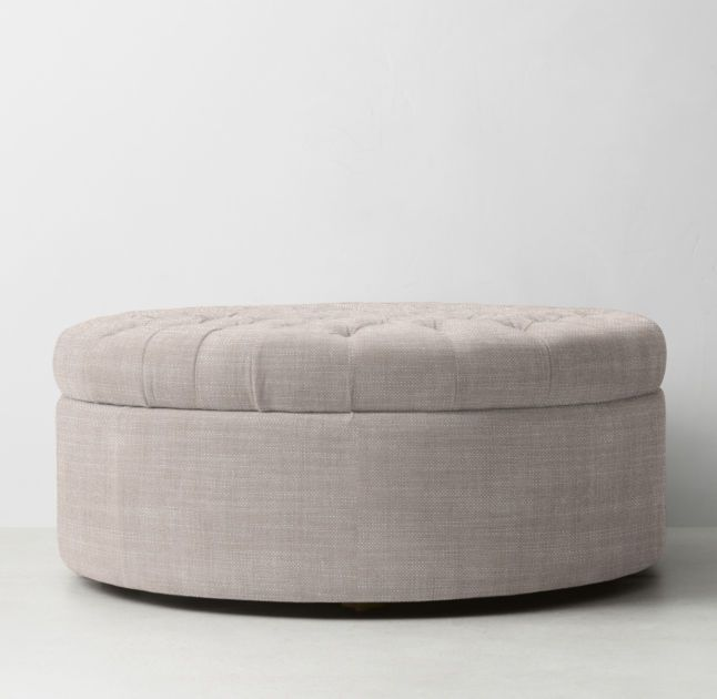 Tufted Large Round Storage Ottoman With Images Round Storage