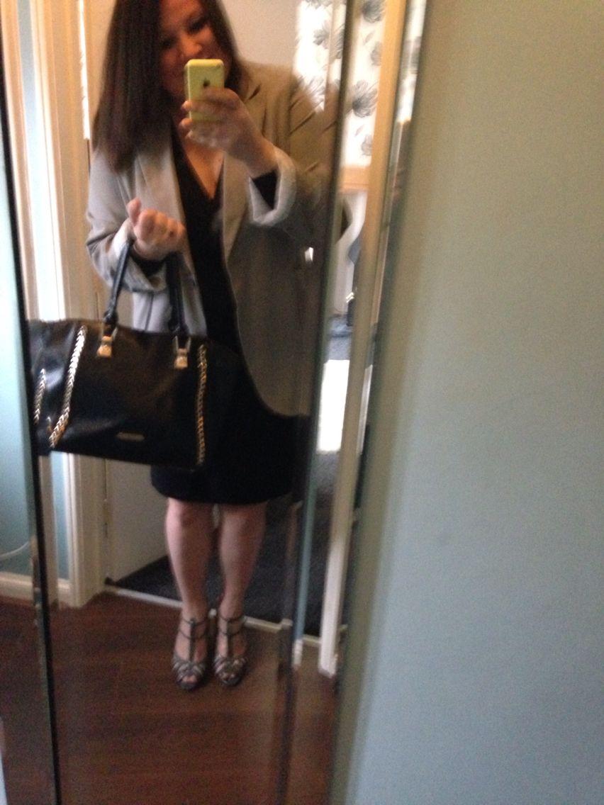 Job Interview! Boyfriend blazer, with a wrap dress and dolly heels!
