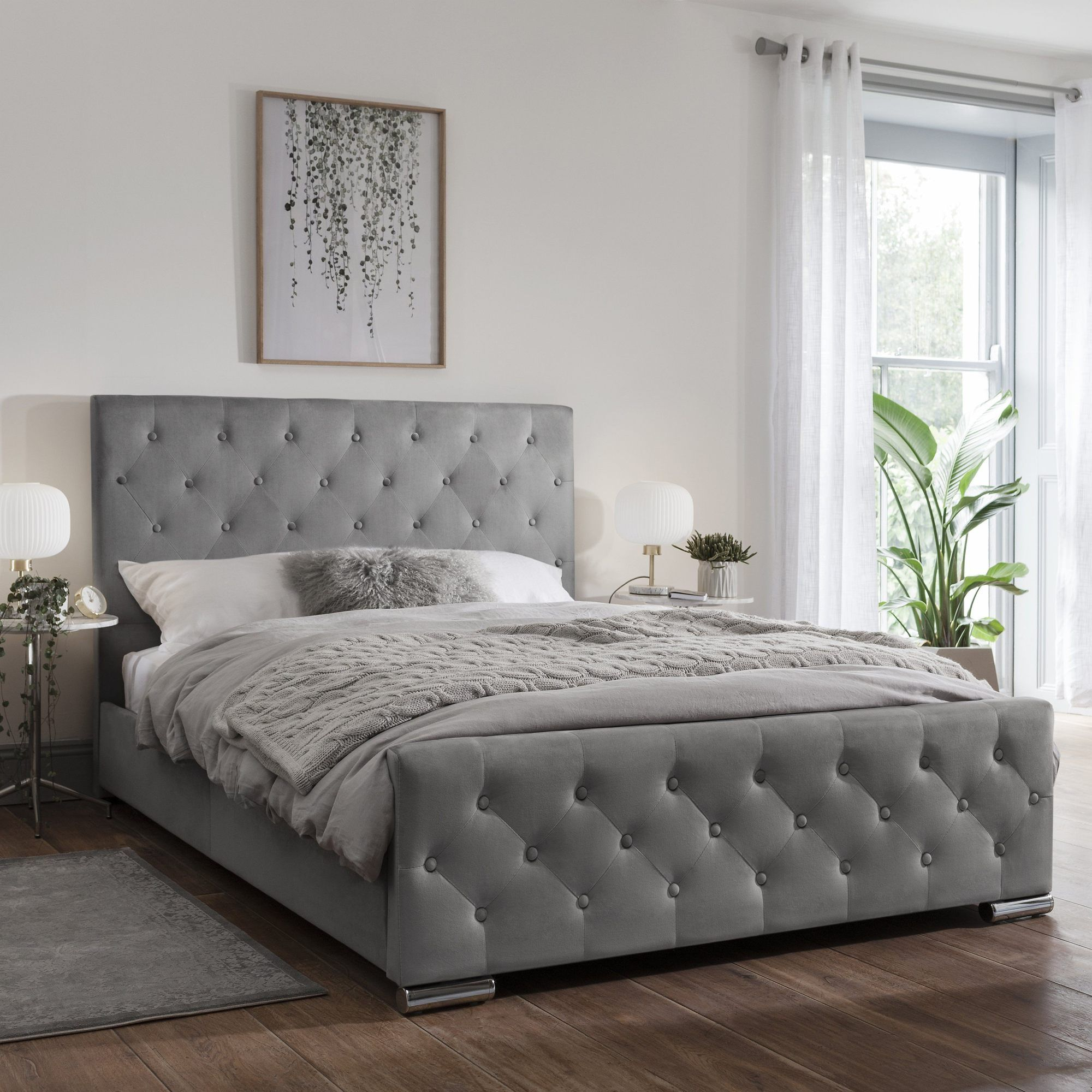 Grey Fabric Double Bed Frame In 2020 Upholstered Bed Frame Fabric Bed Frame Grey Bed Frame