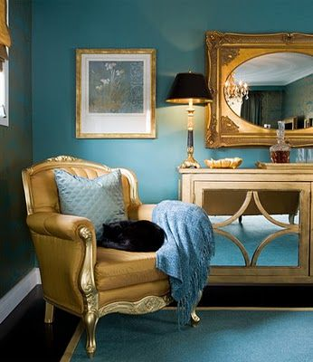 Teal And Gold Bedroom