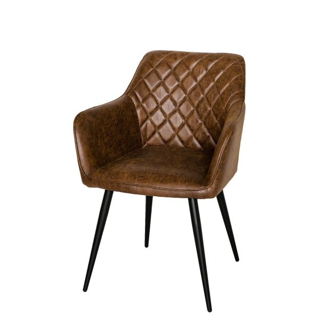 James - Carver Chair In Faux Leather 111-AN Antique Brown - Last few remaining!