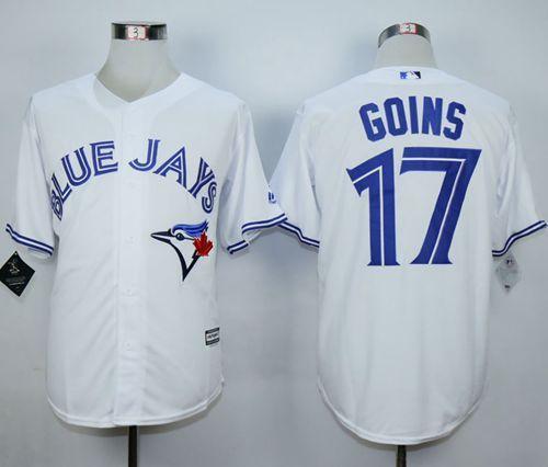 blue jays 17 ryan goins white new cool base stitched mlb jersey rh ar pinterest com