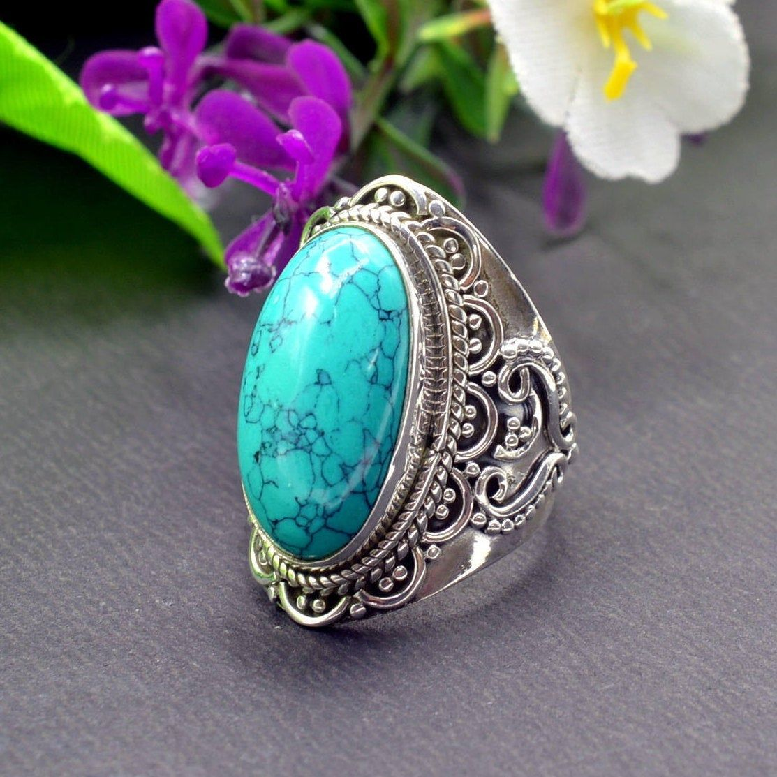 Turquoise Ring Sterling Silver Ring Oval Turquoise Ring