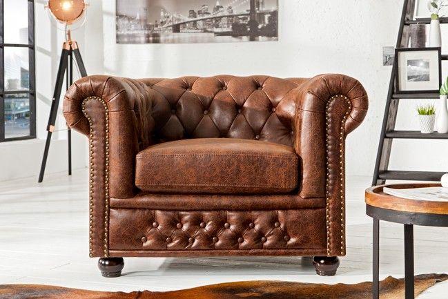 Chesterfield 3er Sofa 200cm Vintage Braun Mit Knopfheftung Und Federkern Chesterfield Sofa Chesterfield Sessel Wohnzimmer Sofa