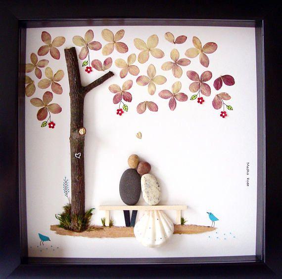 Pebble art wedding gift unique engagement gift couple - Cadeau jeune marie ...