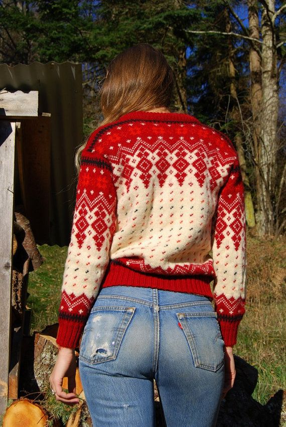 70's Norwegian Sweater, Vintage Fair Isle Sweater, Red   Ivory ...