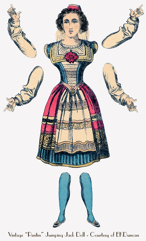 Gypsy girl vintage french quot pantine paper dolls from