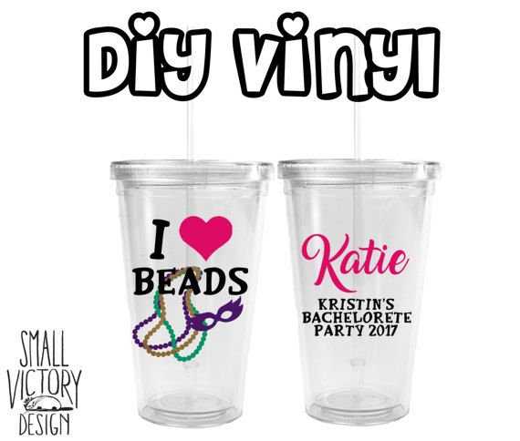 Mardi gras bachelorette party new orleans nola vinyl decal diy vinyl personalized tumblersacrylic