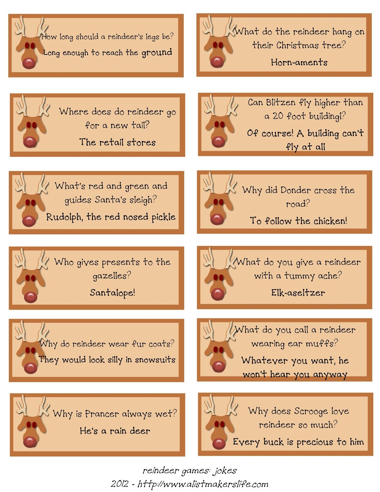 A List Makeru0027s Life: Reindeer Riddles: Free Printable  Christmas List Maker Free