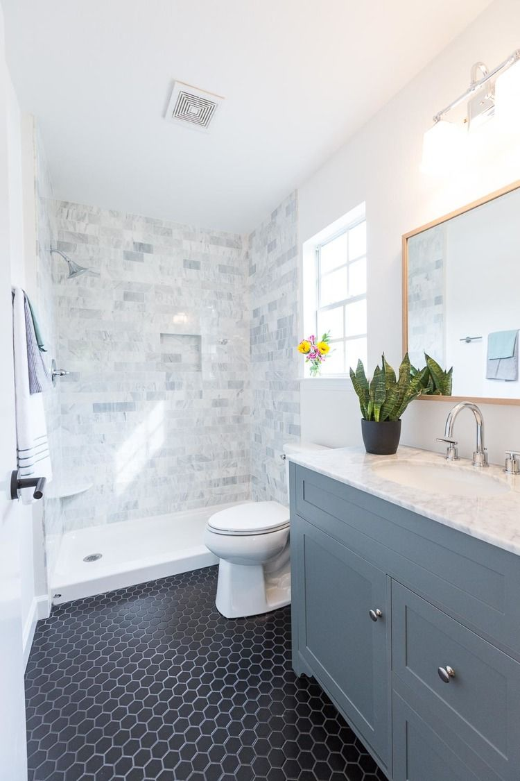 Gray and white marble subway tile on shower wall and baseboard - Carrara Marble Tile Shower Surround Black Hex Tile Gray Vanity With Carrara Marble Top